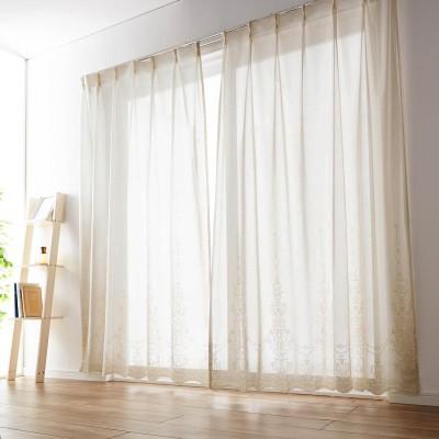 ヴィンテージ風の裾スカラップレースカーテン[日本製]