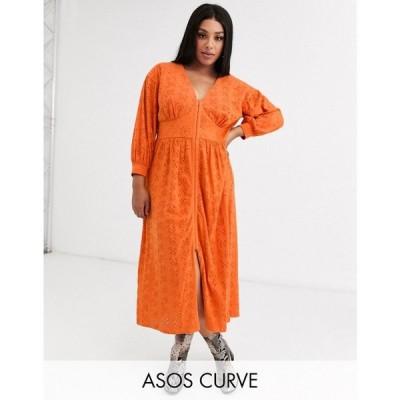 エイソス ASOS Curve レディース ワンピース ミドル丈 ワンピース・ドレス Asos Design Curve Broderie Midi Dress With Hook And Eye In Orange オレンジ