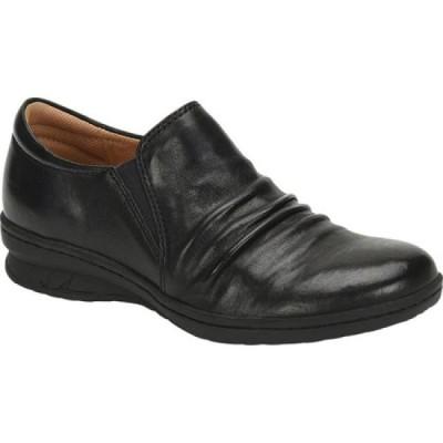 コンフォーティヴァ Comfortiva レディース スリッポン・フラット シューズ・靴 Florian Slip-On Black Smooth Leather
