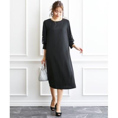大きいサイズ 華やか袖レースミディ丈ワンピース(OtonaSMILE) ,スマイルランド, ワンピース, plus size dress