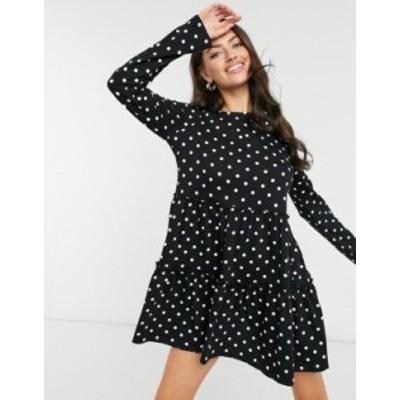 リバーアイランド レディース ワンピース トップス River Island polka dot long sleeve smock mini dress in black Print
