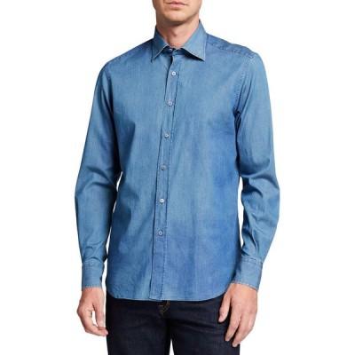 ステファノリッチ メンズ シャツ トップス Men's Handmade Alba Denim Sport Shirt