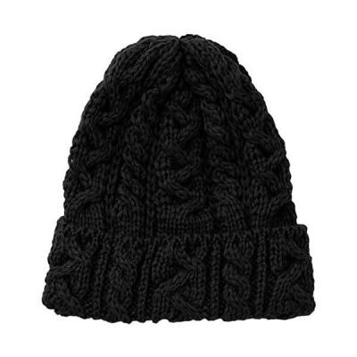 (ハイランド2000)Highland 2000 ニット帽 British Wool Cable Bobcap (ブラック Free Size)