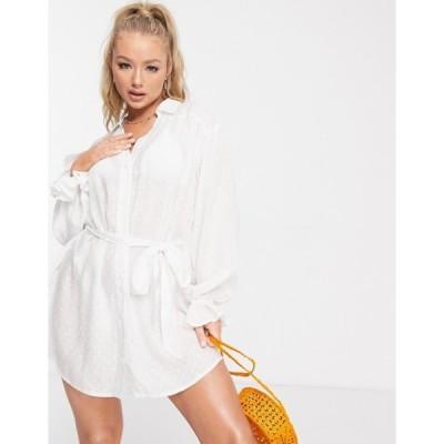 エイソス レディース ワンピース トップス ASOS DESIGN beach shirt dress with fluted cuff in white with dot texture