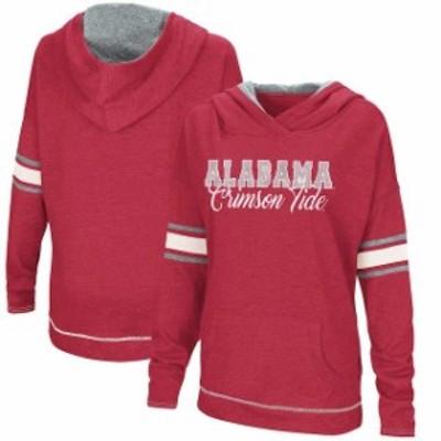 Colosseum コロセウム スポーツ用品  Colosseum Alabama Crimson Tide Womens Crimson True Love Crossover Neck Pullover Hoodie
