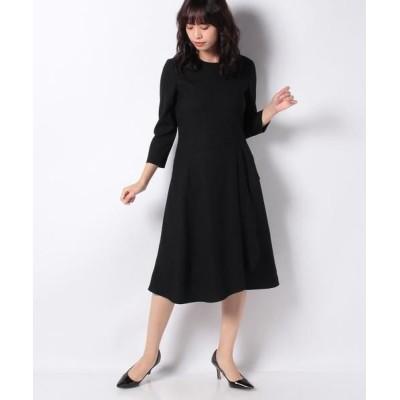 LAPINE BLANCHE/ラピーヌ ブランシュ ウールピーチジョーゼットドレス ブラック 38