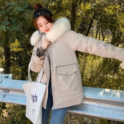 アウター レディース 中綿ジャケット ダウン風 裏起毛 フェイクファー フード 防寒 暖かい おしゃれ 中綿コート 冬  かわ大