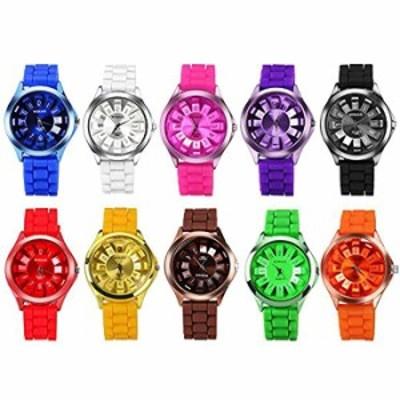 腕時計  CdyBoxメンズレディース子供用シリコンバンドAssortedゼリーアナログクォーツWatches (10パック)
