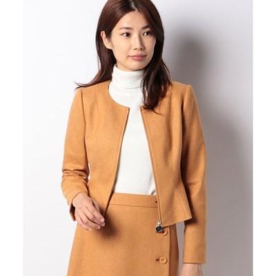 【ミス ジェイ】【セットアップ対応】ストレッチツィード 裾フレアージャケット