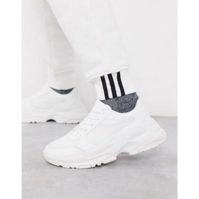 エイソス ASOS DESIGN メンズ スニーカー シューズ・靴 trainers in white mesh with chunky sole ホワイト