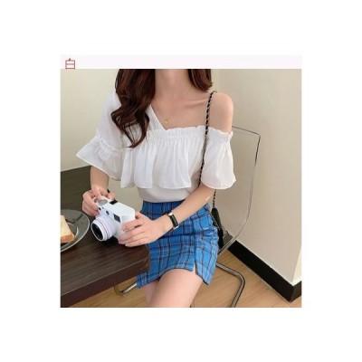 【送料無料】女 夏 不規則な 肩なし 半袖 シャツ 韓国風 ルース 何でも似合う フ | 364331_A62711-3662935