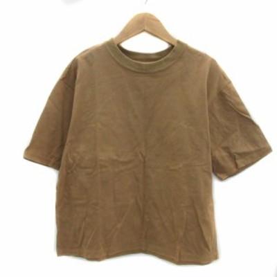 【中古】ユナイテッドアローズ ビューティー&ユース Tシャツ カットソー 半袖 ラウンドネック 無地 茶 レディース