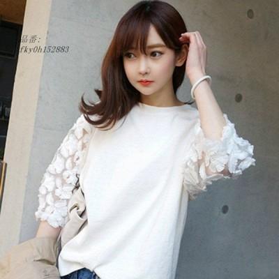 レディース ブラウス 七分袖 L 2XL トップス ホワイト フェミニン SM XL キュート 透け素材 カジュアル 透け感 シャツ 可愛い 大きいサイズ