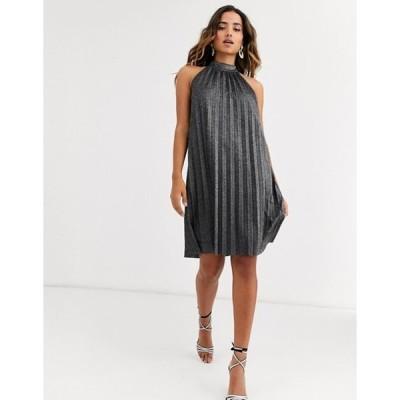 ワイエーエス レディース ワンピース トップス Y.A.S halter neck metallic pleated mini dress