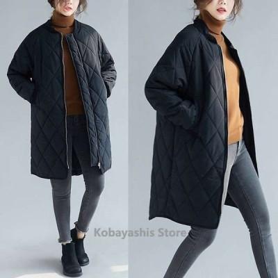 中綿コートレディース冬30代40代ノーカラーコートロングコート軽量暖かい黒ブラック無地アウターコート着痩せ