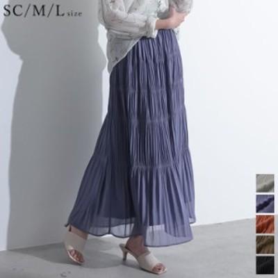 [低身長向けSサイズ有]ギャザーティアードマキシスカート