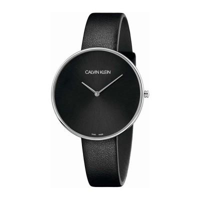 カルバンクライン CK スイス製 レディース Full Moon フルムーン 42ミリ シルバー ブラック レザー K8Y231C1 腕時計
