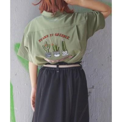 シャツ ブラウス 後ろ刺繍ボーリングシャツ