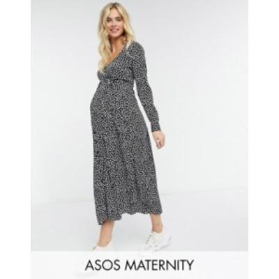 エイソス レディース ワンピース トップス ASOS DESIGN Maternity Exclusive tie waist button-front midi dress in mono floral print M