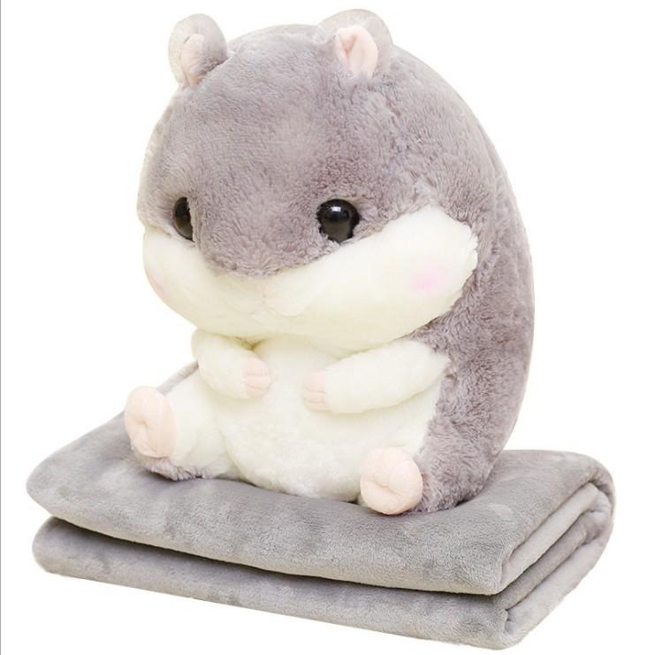 倉鼠娃娃 抱枕/靠枕 暖手加毛毯 [交換禮物]