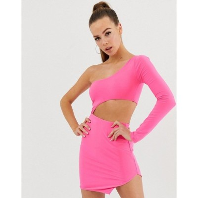 ファッションキラ レディース ワンピース トップス Fashionkilla one shoulder cut out bodycon dress in neon pink Neon pink
