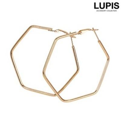 ゴールドヘキサゴンフープピアス - ルピス(LUPIS)