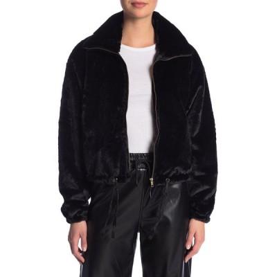 ノウワンケアズ レディース ジャケット&ブルゾン アウター Faux Fur Cropped Jacket BLACK