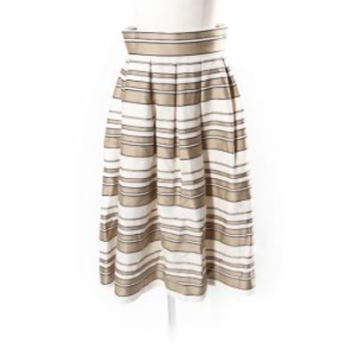 【中古】DOUBLE STANDARD CLOTHING 18SS スカート ロング フレア ボリューム ボーダー 36 ベージュ aan0516 レディース