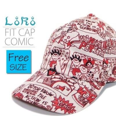 帽子 キャップ メンズ レディース LoRo フィットキャップ コミック フリーサイズ レッド コットン