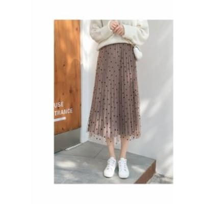 2wayベロアチュールスカート リバーシブル レディース プリーツスカート ミモレ丈 プチプラ通販 きれいめ ドット柄 おしゃれ