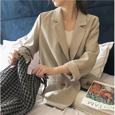 [55555SHOP]休日出勤のビジネスコーデや初秋 アウター おしゃれな 腰止めひも 細身 長袖 スーツ ジャケット カジュアル シンプル スーツ コート