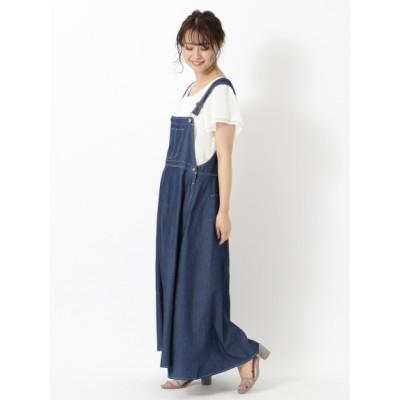 【大きいサイズ】【L-3L】サロペットデザインジャンパースカート 大きいサイズ ワンピース レディース