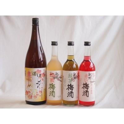 カラフル梅酒4本セット(赤しそ赤い梅酒(和歌山) 米焼酎仕込はんなり梅酒(京都) 蜂蜜梅酒(和歌山) 緑茶梅酒(和歌山)) 720ml×3本 1800