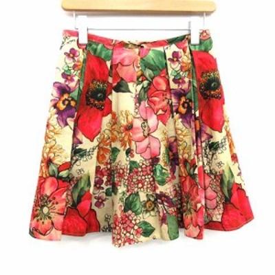 【中古】レッド ヴァレンティノ RED VALENTINO スカート ミニ プリーツ 花柄 フローラル 40 L 赤 レッド ベージュ