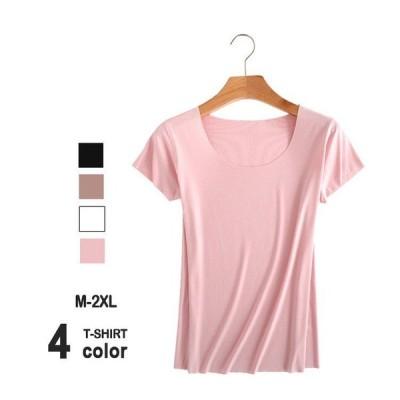 tシャツレディース半袖シームレスTシャツ無地春夏秋冬ベーシック薄手UネックキャミインナーインナーtシャツM/L/XL/2XL大きいサイズ黒白