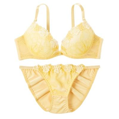 バラケミカル刺しゅうブラジャー。ショーツセット(D75/M) (ブラジャー&ショーツセット)Bras & Panties