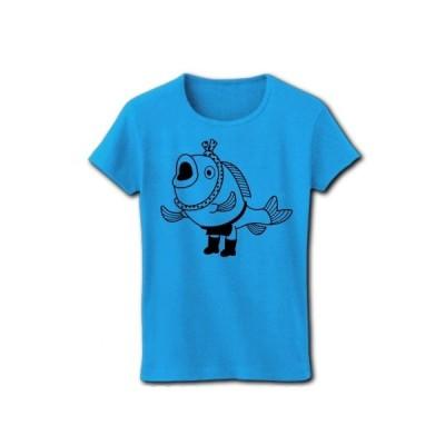 魚の魚屋さん リブクルーネックTシャツ(ターコイズ)