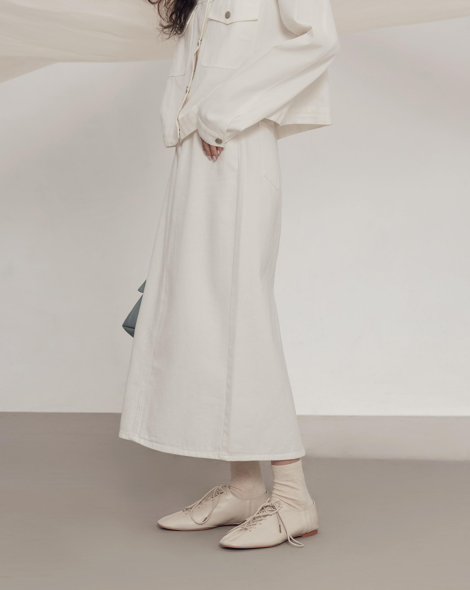 復古後衩牛仔鉛筆裙-Meierq