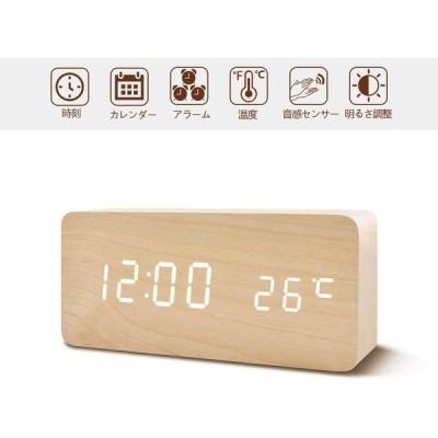 置き時計 置時計 デジタル おしゃれ 北欧 木目調LED アンティーク 時計 クロック 目覚まし時計 デジタル時計 アラーム時計 卓上 アラーム 日付