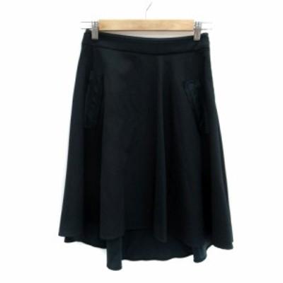 【中古】ランバンオンブルー スカート フレア フィッシュテール ひざ丈 ミモレ丈 36 緑 グリーン レディース