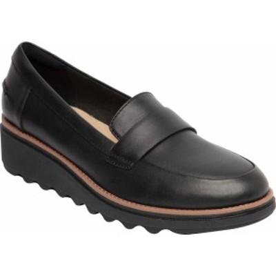 クラークス レディース ヒール シューズ Women's Clarks Sharon Gracie Wedge Loafer Black/Dark Tan Welt Leather
