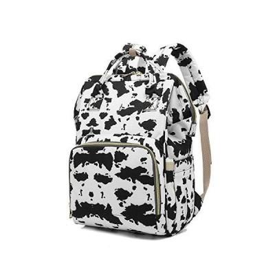 Harajuku Style Cow Spots Print Diaper Bag Backpack Maternity Changing Bag Backpacks for Mom Dad【並行輸入品】