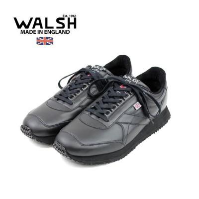 【WALSH ウォルシュ】レザーランニングスニーカー VOYAGER (voy50006) ブラック