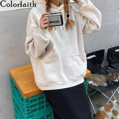 海外輸入アパレル Colorfaith New2020秋冬女性スウェットシャツプルオーバーフーディー特大サイズ自体韓国のポップジャンパーワイルドショー