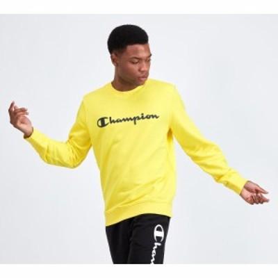 チャンピオン Champion メンズ スウェット・トレーナー トップス linear logo sweatshirt Yellow