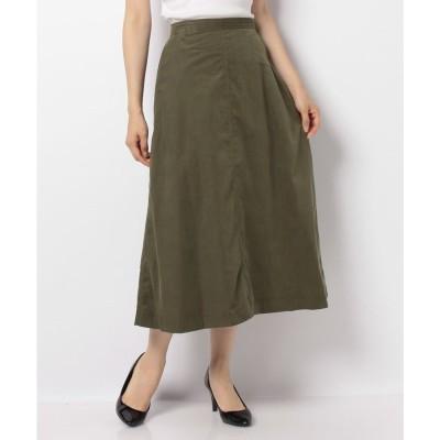 Petit Honfleur コーデュロイAラインスカート(カーキ)【返品不可商品】
