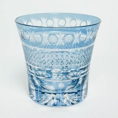 手づくり切子 ロックグラス アラベスク ブルー 290ml MN101-BL マイグラス タンブラー オールドファッション BL 青 焼酎 切子 御祝 ギフト