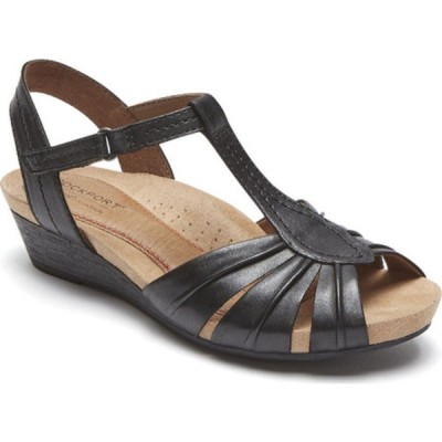 ロックポート スニーカー シューズ レディース Cobb Hill Hollywood Pleated T Strap Sandal (Women's) Black Full Grain Leather
