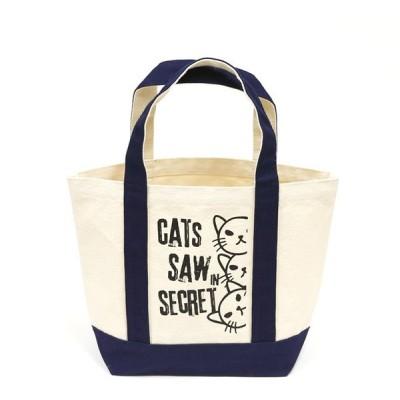 猫 ミニ トートバッグ メンズ レディース WATCHCAT - ネイビー ネコ ねこ 猫柄 雑貨 お買い物 エコバッグ - メール便 - SCOPY スコーピー