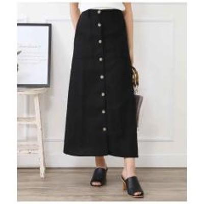 ANAP(アナップ)綿麻スコッチボタンフロントスリットスカート【お取り寄せ商品】